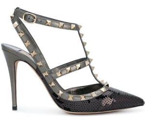 cdddf55077b1 NIB Valentino Rockstud Black Sequin Ankle T Strap Classic Sandal ...