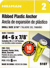 The Hillman Group 370326 Ribbed Plastic Anchor 100-Pack 4-6-8 X 7//8-Inch Yellow