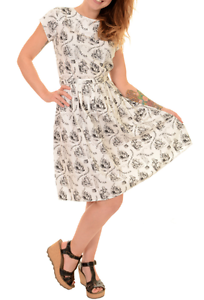 WOMENS RUN&FLY Retro Vintage 50s style tea dress with Alice In Wonderland print