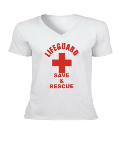 Lifeguard Save and Rescue Men Women Unisex V-Neck Short Top Tee T-Shirt