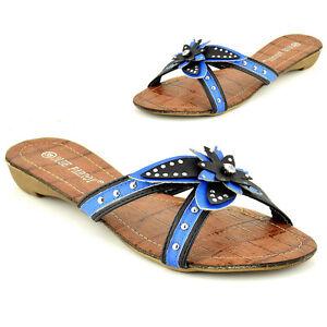 Nuevo Para Mujer Damas Peep Toe Sandalias Verano Flip Flop zapatos planos del Reino Unido 4 de la UE 37 Azul