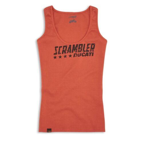 DUCATI Scrambler Orange Flip Damen ärmelloses T-Shirt Top LADY NEU !!