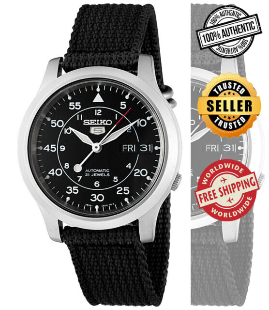 Seiko 5 Automatic SNK809 SNK809K2 Men Black Dial Day Date Black Band Watch