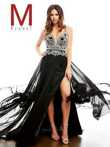 NWT-free-ship-Size-8-Mac-Duggal-65220A-Black-GOWN-beading-PROM-evening-DRESS