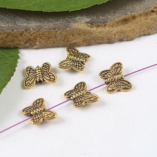 30pcs dark gold-tone butterfly spacer beads h1977