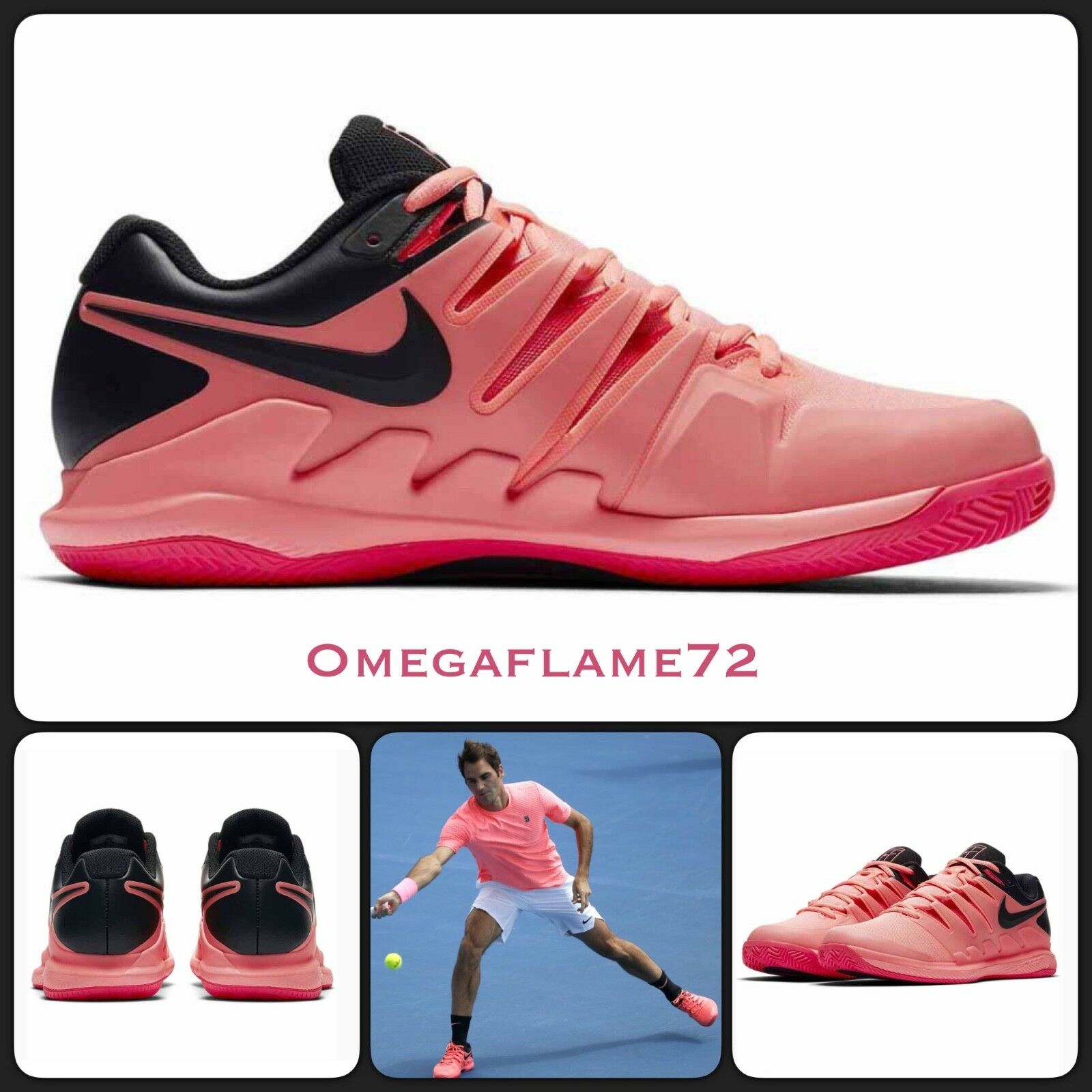 Nike Zoom Vapor, Federer Tennis Tennis Tennis X Scarpa Sz UE 43, US 9.5, AA8021-660 4dd952