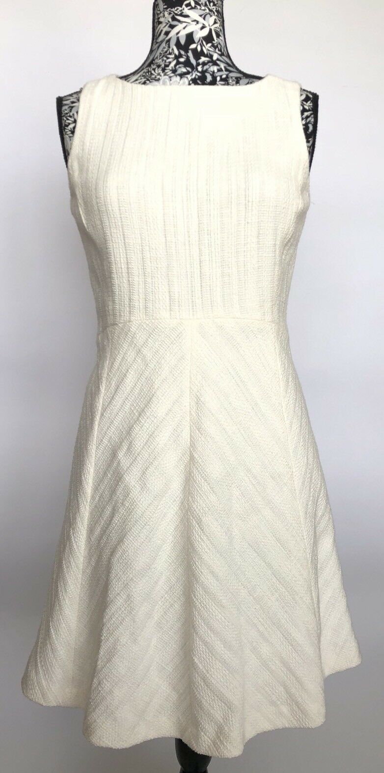 Theory Dress Größe 8 NWT off-Weiß cailen tweed classic PL flare swing dress