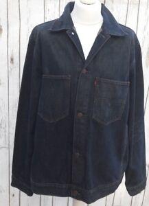 Men-039-s-Levis-Denim-trucker-jacket-Large-Dark-Blue-Vintage-46-inch-chest
