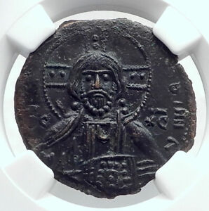 JESUS-CHRIST-Class-A3-Anonymous-Ancient-1020AD-Byzantine-Follis-Coin-NGC-i80781