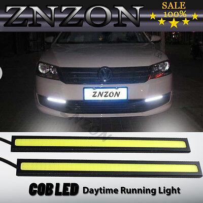 2x Waterproof Super Bright COB White LED Stripe Lights DRL Car Fog Driving Lamp