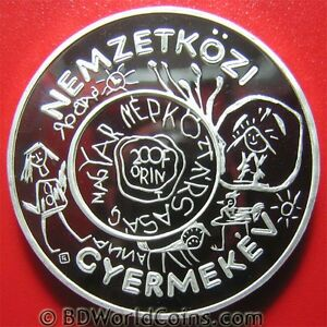 1979-HUNGARY-200-FORINT-SILVER-PROOF-UNICEF-YEAR-OF-THE-CHILD-DRAWINGS-IYC-38mm