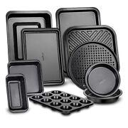 NutriChef Deluxe Nonstick Carbon Steel Stackable 10 Piece Kitchen Bakeware Set