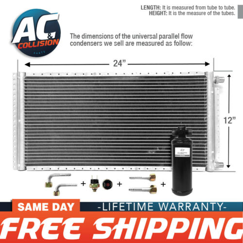 CNFP1224KT Kit AC A//C Universal Condenser Parallel Flow 12 x 24 Oring with Drier
