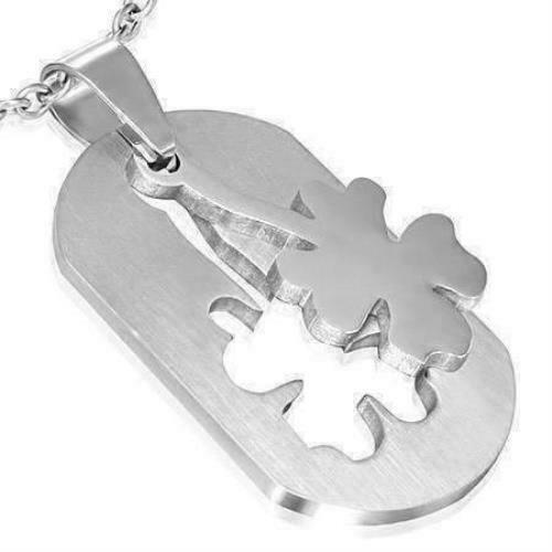 Shamrock 2 Piece Cut-Out Dog Tag Pendant Stainless Steel Necklace