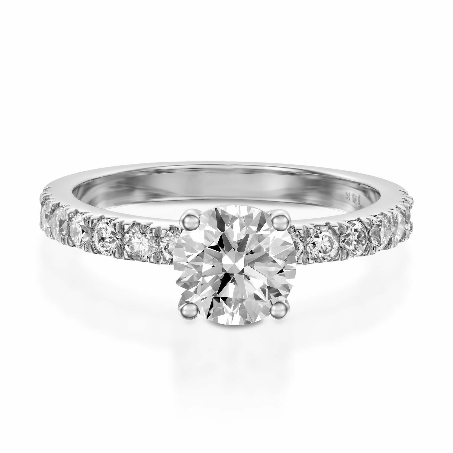 1.35 Ct Round Cut Diamond Engagement Ring 18K Solid White gold Rings Size 7 8