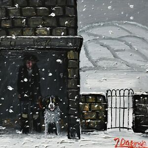 James-Downie-Original-Oil-Painting-Sheltering-From-The-Snow-On-A-Dark-Winter-Day
