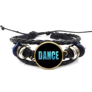 Dance Blue Glitter Glass Cabochon Bracelets Braided Leather Strap Bracelet