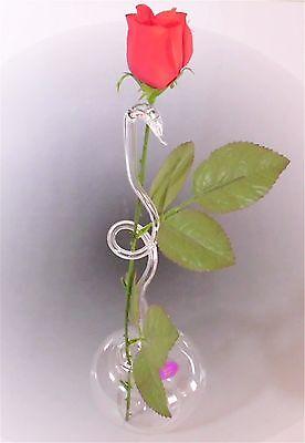 Rosenvase aus Glas Lauscha filigran Handmade Klarglas Vase für Rosen Qualität 1A