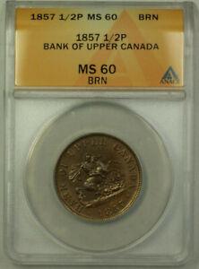 1857-Bank-of-Upper-Canada-1-2p-Half-Penny-Token-ANACS-MS-60-BN-Better-Coin