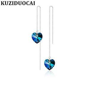 Lange-Kette-925-Silber-Herz-Kristall-Durchzieher-Ohrhaenger-Ohrringe-Ohrschmuck