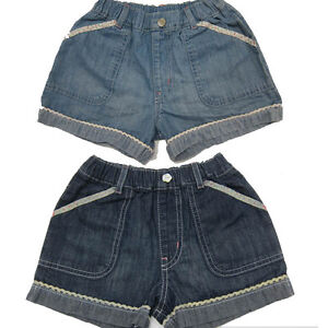 GIRLS-DENIM-SHORTS-EX-M-amp-S-WITH-FLORAL-TRIMMING-AND-POCKETS-ADJUSTABLE-WAIST