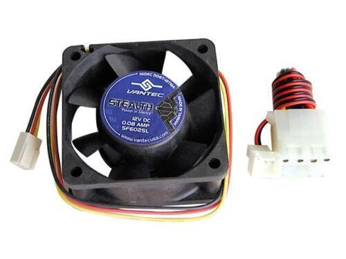 Vantec Stealth SF6025L 60mm x 25mm 2 Ball Bearing Case Fan Molex Adapter Screws