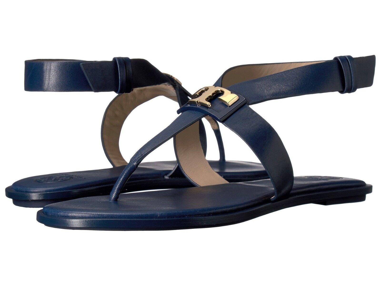 NIB  225 Tory  Burch Navy blu Gigi Calf Leather Flat Sandals w   oro Logo Sz 11  Sconto del 60%