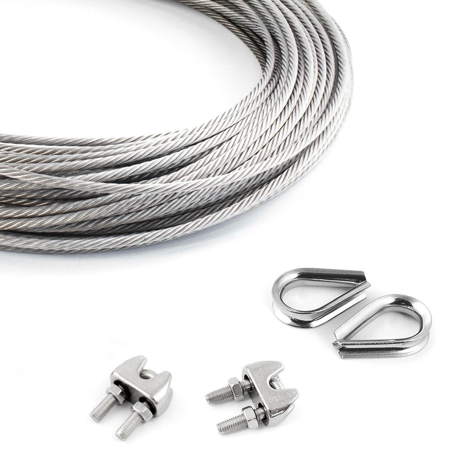 DRAHTSEIL EDELSTAHL 5m - 200m + 2 Klemmen + 2 Kauschen Edel Stahlseil V4A Stahl