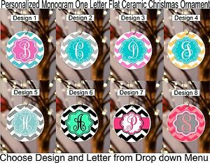 "Christmas Ornament Chevron Personalized Monogram 3""oneside Design 2 Flat Ceramic"
