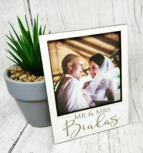 Personalised-Wooden-Frame-Fridge-Magnet-Polaroid-Birthday-Wedding-Valentine-039-s