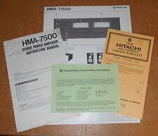 Vintage Hitachi HMA-7500 Stereo Power Amplifier Instruction Manual