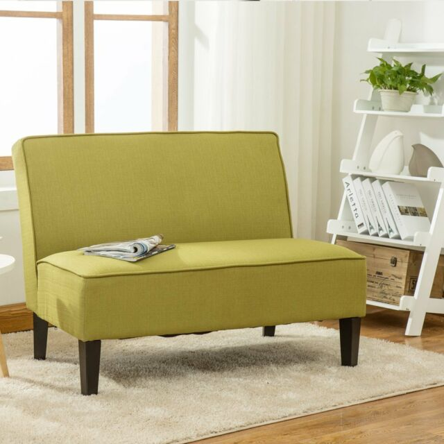 Astonishing Upholstered Linen Settee Loveseat Sofa Couch Recliner Armless Living Room Green Ncnpc Chair Design For Home Ncnpcorg