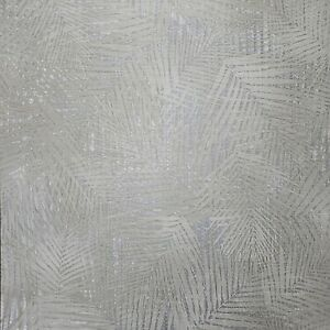 Floral-Tropical-Palm-Leave-wicker-bamboo-Gray-Silver-metallic-textured-Wallpaper