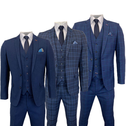 Mens 3 Piece Suit Harry Brown Blazer Waistcoat Trousers Check Evening Party New