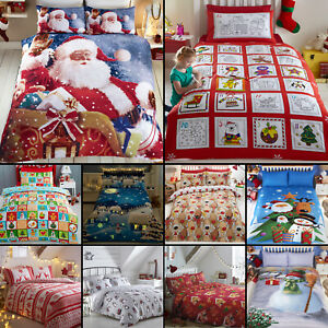 FATHER-CHRISTMAS-TREE-SANTA-CLAUS-REINDEER-SNOWMAN-QUILT-DUVET-COVER-BEDDING-SET
