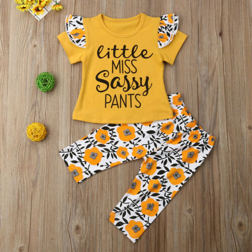 2PCS Toddler Newborn Kids Baby Girls Outfits T-shirt Tops+Floral Pants Clothes