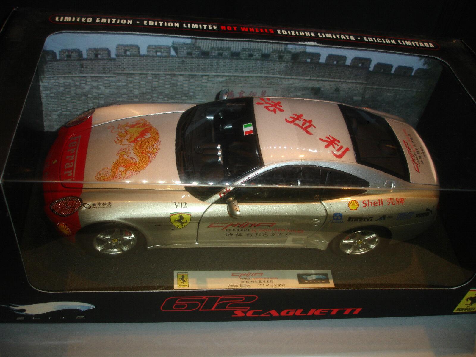 mas preferencial Ferrari 612 Scaglieti 15000 rojo millas Hot Wheels Wheels Wheels Elite 1 18  precios mas bajos
