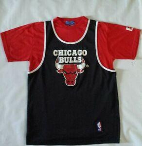 new product 2c0d7 14a5c Details about Vintage Chicago Bulls NBA Starter Jersey T-Shirt Size M
