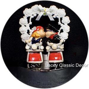 Wedding Cake Topper 2 Motorcycle Fun Bride & Groom bike funny dirt ...