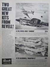 1965 PUB REVELL AUTHENTIC KITS FOCKE WULF CONDOR DOUGLAS PHANTOM II ORIGINAL AD