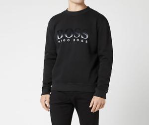 HUGO-BOSS-Men-039-s-Weaver-Crew-Neck-Sweatshirt-Jumper-Black
