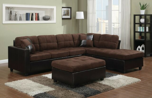 Modern 5-Seater Fabric Sectional Sofa Set Reversible Chaise & Ottoman, Brown