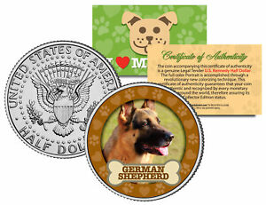GERMAN-SHEPHERD-Dog-JFK-Kennedy-Half-Dollar-US-Colorized-Coin