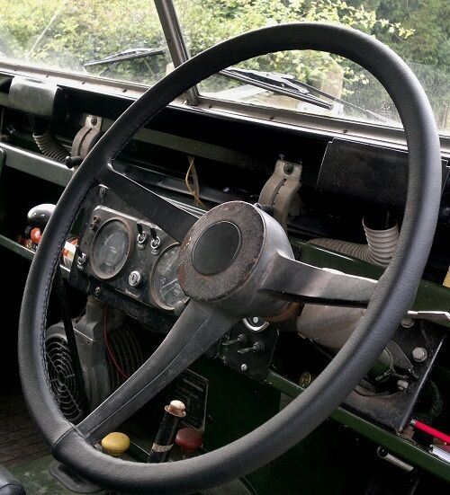 FOR LAND ROVER SERIES 2A 1961-1971 REAL BLACK LEATHER STEERING WHEEL COVER NEW