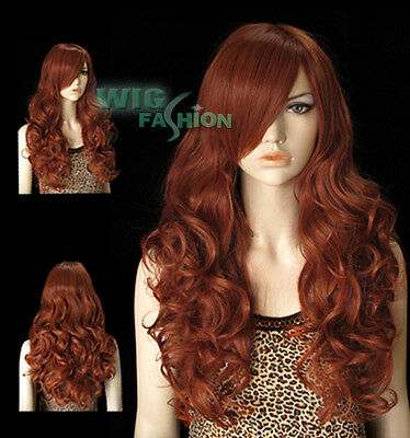 "22"" Heat Resistant Long Curly Brownish Orange Fashion Hair Wig"