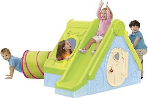 NEW-Keter-Funtivity-Outdoor-Garden-Playhouse-with-Tunnel-amp-Slide-Blue-amp-Green
