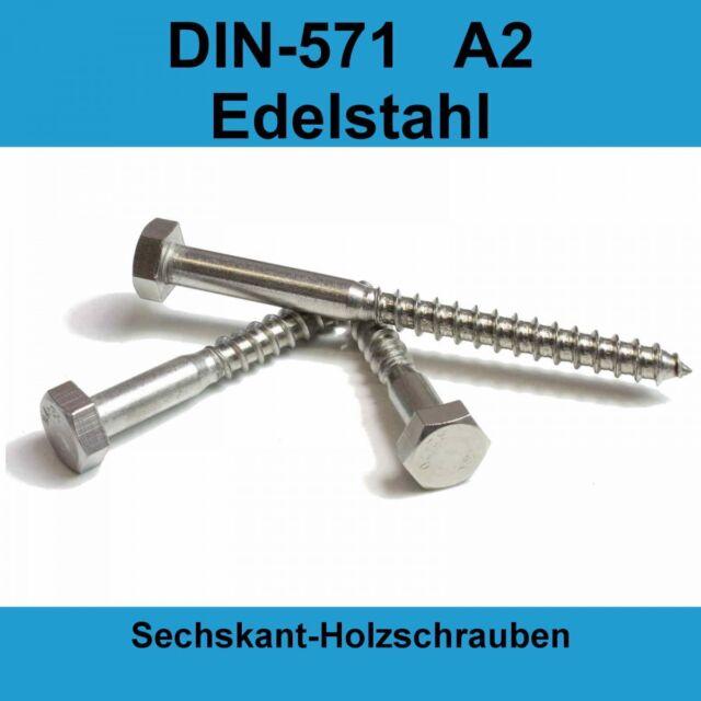 Dresselhaus Sechskant-Holzschraube Schlüsselschraube A2 Edelstahl 6-12mm DIN 571