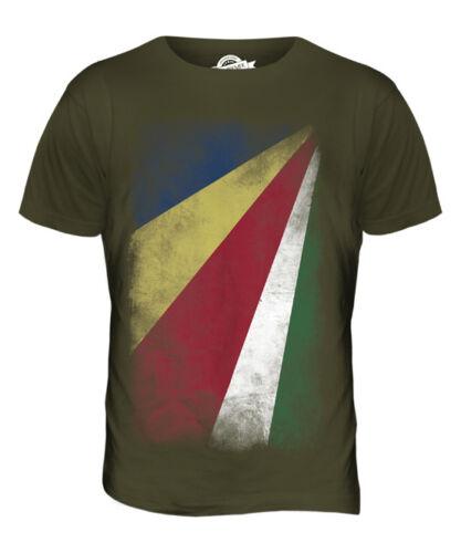 SEYCHELLES FADED FLAG MENS T-SHIRT TEE TOP SESEL SEYCHELLOIS GIFT SHIRT
