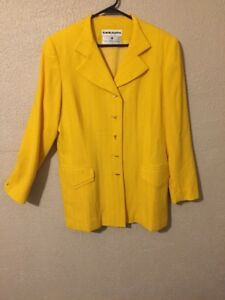 Coat-WOMENS-DAVID-HAYES-Sz-14-Jacket-Saks-Fifth-Avenue-Yellow-Coat-Import-Fabric