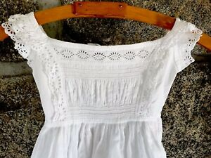 Antique-Hand-Embroidery-White-Cotton-Broderie-Anglaise-Child-Baby-Doll-Dress